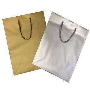 LUSSO-REGALO-REGALO-SACCHETTI-argento-o-oro-grande-lucido-laminato-opaco-BORSA