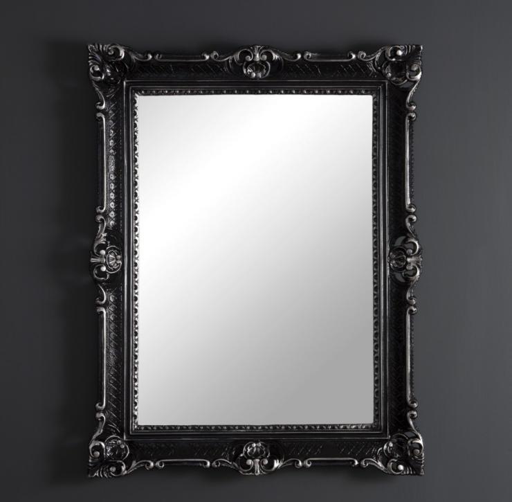 Miroir Mural Noir Argent Antique Baroque Large 90x70 salle de bains 3057ss