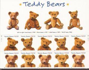 US Stamp 2002 37c Teddy Bears 10 Stamp Plate Block w/Top Label Scott #3653-6