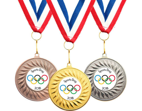 Ribbons FREE DELIVERY 10 x Olympic School Sports Day Medals Personalised