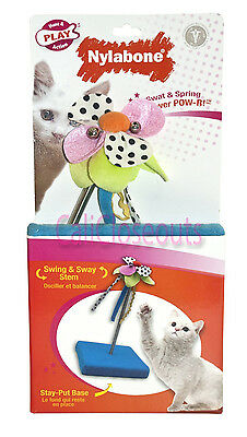 Nylabone Cat Toy Swat & Spring Flower POW-R! w/ Stay-Put BASE, Swing & Sway Stem