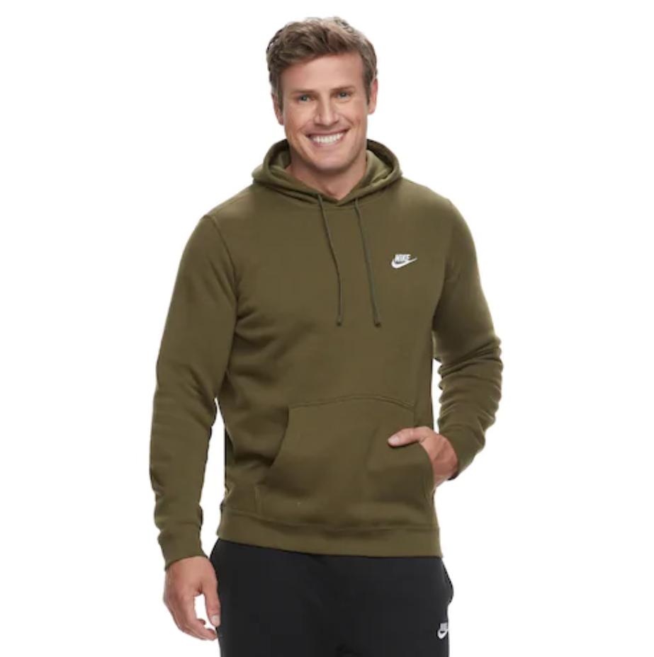 Nwt Herren Nike Groß & und Hoch Club Fleece Kapuzenpullover Olive Leinen