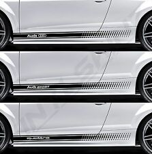 AUDI Logo Sport Quattro Superior Cast Side Stripes Decals Stickers S-line Avant