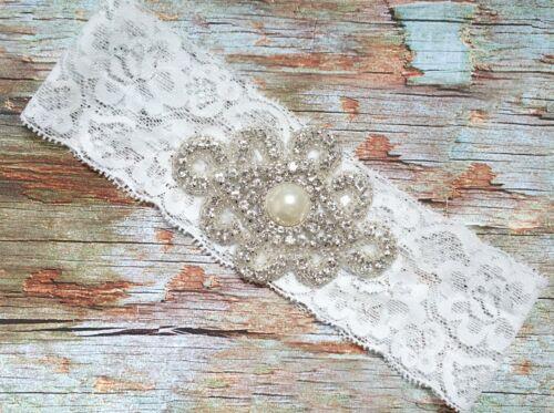 Pearl Bow White Lace R1 Lace White Keep+Toss Rhinestone Wedding Garter Set