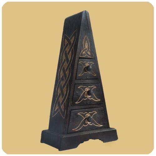 Schubladenkommode Pyramide Albizia Holz Schrank mit Schubfächer Deko Handarbeit