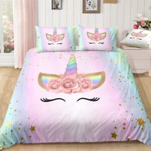 3d-unicorn-duvet-cover-set-Cartoon-flower-unicorn-bedding-Set-twin-size