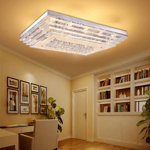 kristall deckenleuchte glas flach deckenlampe led eckig wohnzimmerlampe 40x40cm ebay