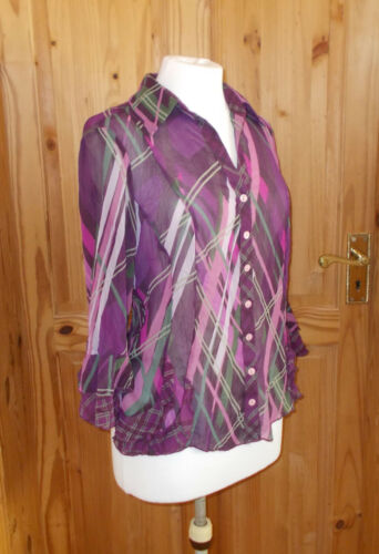 4 Mauve Per Sleeve M 38 3 Green Pink 10 Blouse Shirt Chiffon Top Purple Una amp;s z5rvYqnzZ