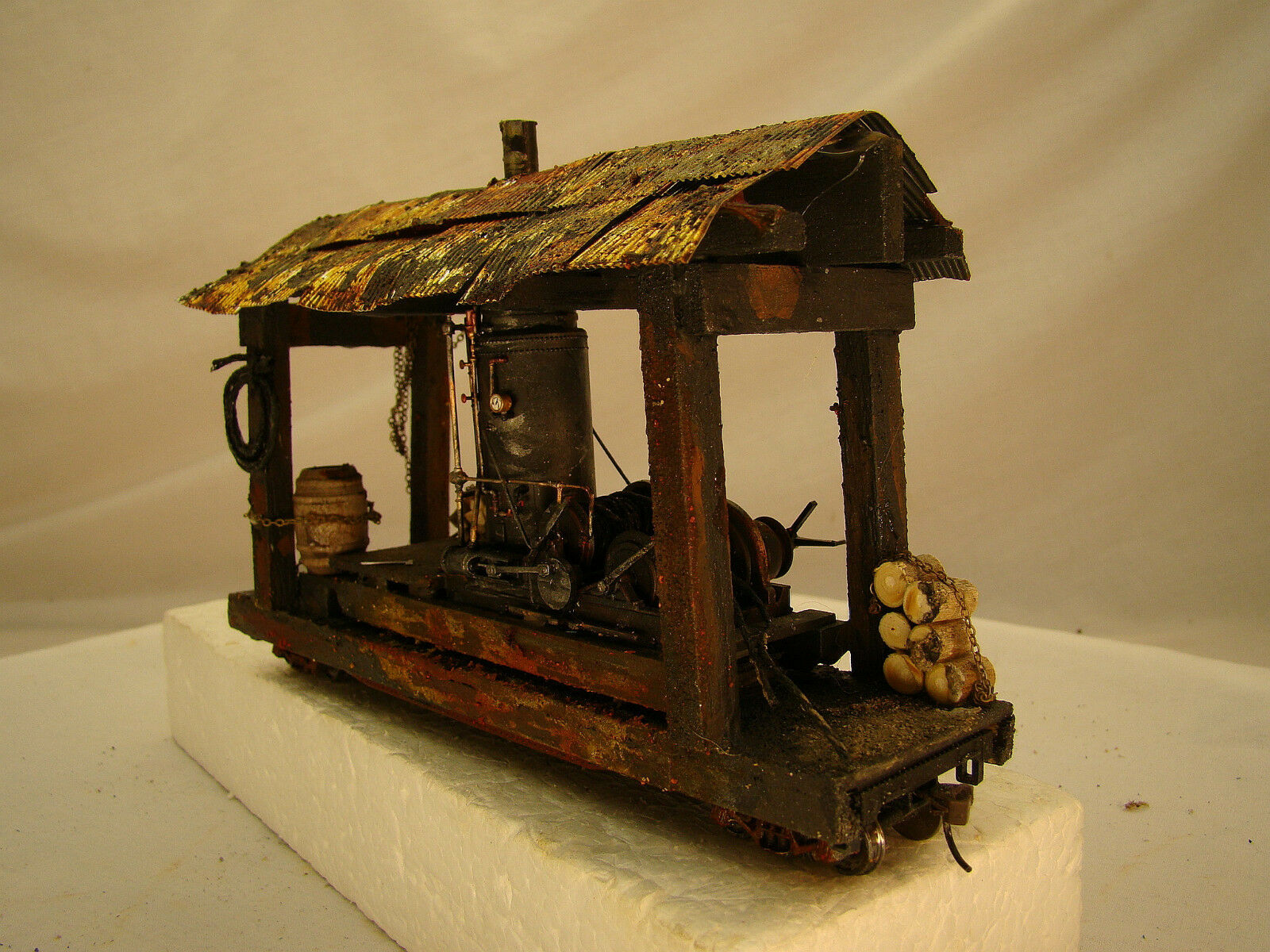 O scale or On30 Logging Steam Donkey - custom weatherosso after historic picture
