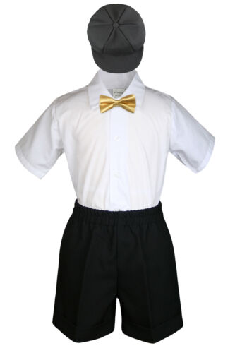 4pc Boys Toddler Formal Baby Black Shorts Set With Colors Bow Tie Hat S-4T