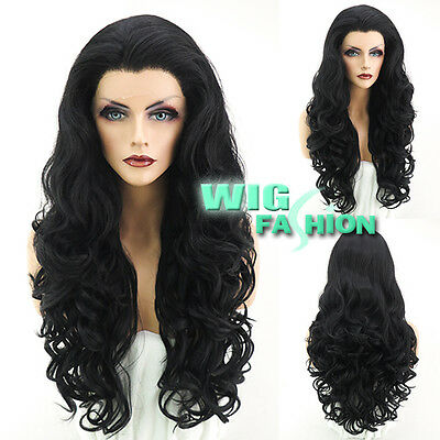 """26"""" Long Jet Black Curly Wavy Lace Front Wig Heat Resistant"""