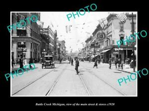 OLD-LARGE-HISTORIC-PHOTO-OF-BATTLE-CREEK-MICHIGAN-VIEW-OF-MAIN-St-amp-STORES-1920