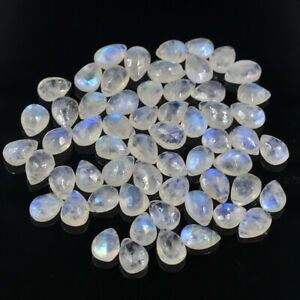 Natural Moonstone 54 Pieces 9-8X6 MM Faceted Briolettes Gemstone Beads 16""