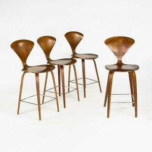 1x 2005 Norman Cherner Walnut Counter Height Stool / Chair - Multiples Available