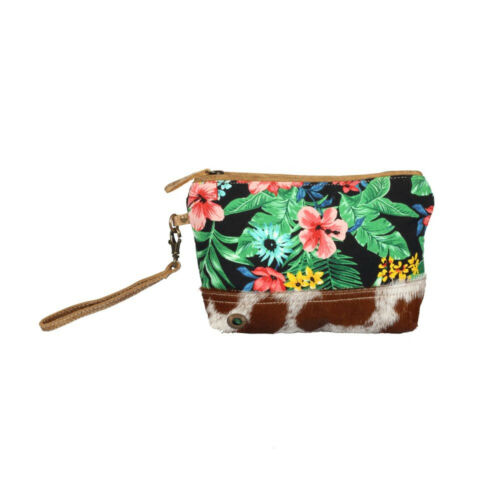 Flower Tapestry Canvas+Hairon Leather Wristlet Bag-Bright Floral Wristlet Purse