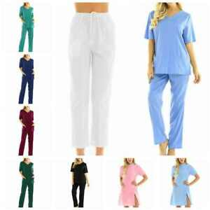 Women's Nursing Doctor Pants Hospital Scrubs Medical Uniforms Trousers Work Suit