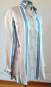 Worth Womens Collared Retro Stripe Multicolor Sleeved Button Down Shirt Size XS