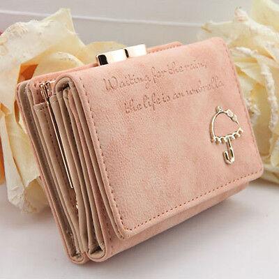 Damen Fashion PU Leder Portemonnaie Geldbörse Kurz Geldbeutel Button Clutch JUDE