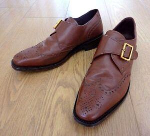 Samuel-Windsor-Hombre-Cuero-Marron-Cuero-Calado-Monje-Correa-Zapatos-Talla-Uk-6-EU-39-5