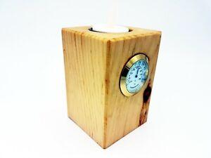 Zirbendeko fürs Büro oder Zuhause - inklusive Thermometer und LED Teelicht