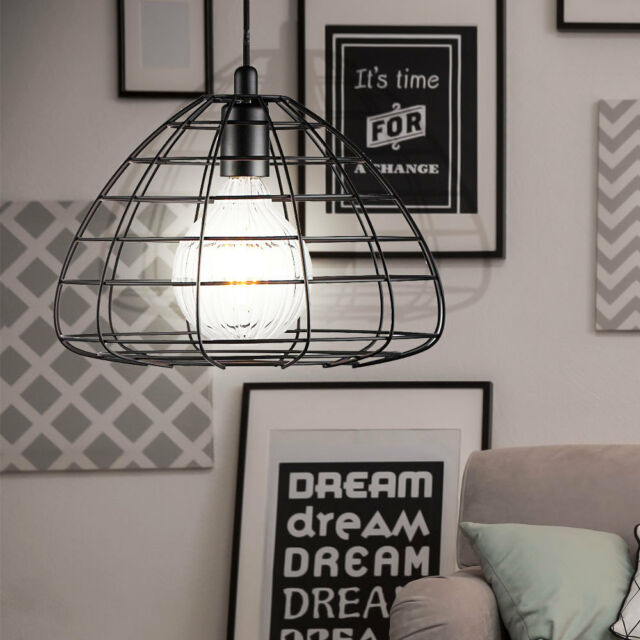 VINTAGE pendulum pendant lamp sleep guests room ceiling caged lamp black