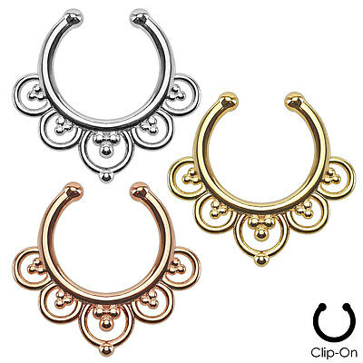 Non Piercing Flower Petal Fan SEPTUM Nose Clip-On Hanger RINGS Stud Body Jewelry
