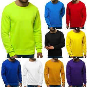 Sweatshirt Pullover Langarmshirt Rundhals Unifarben Basic OZONEE 587 Herren