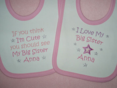 Personalised baby bibs If you think i/'m cute or  I love my big brother sister