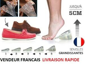 Paire-Semelle-Talonnette-Grandissante-Rehaussante-Chaussure-Silicone-Gel-Neuf