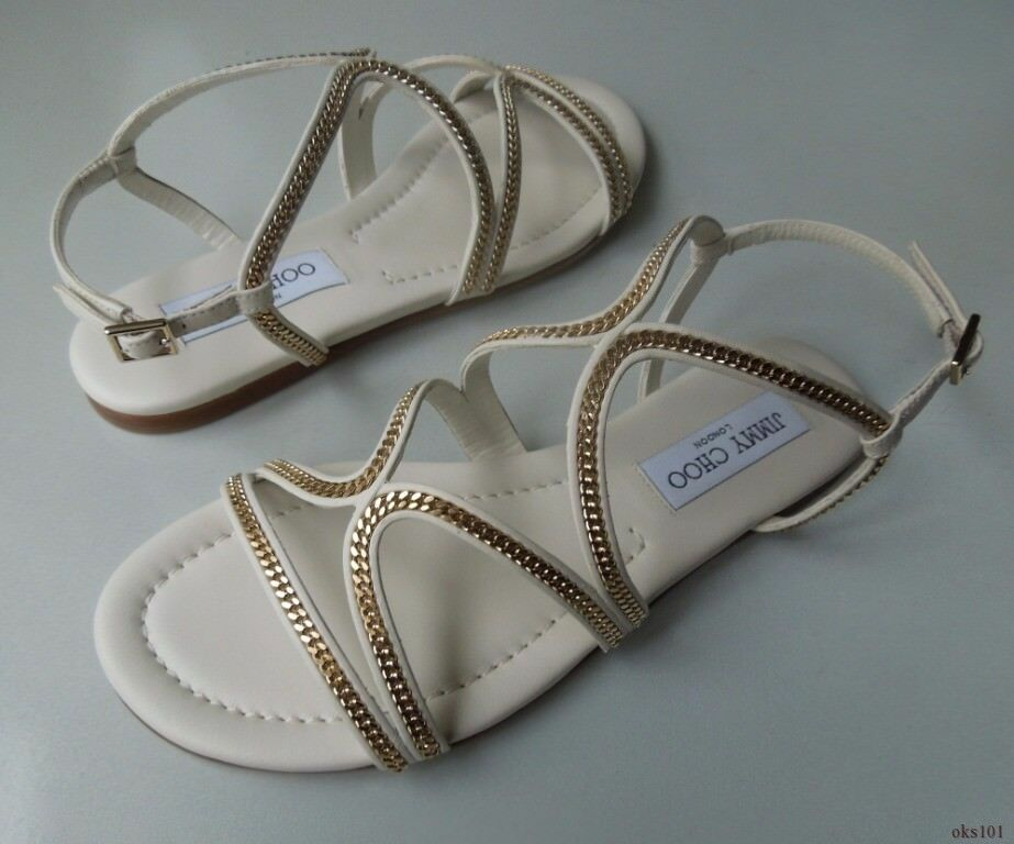 New  595 595 595 JIMMY CHOO 'Nickel Flat' off-Weiß Gold CHAIN sandals schuhe 41 11 b51743