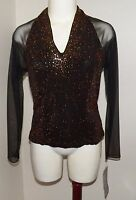Jr Nites By Caliendo Copper/black Shirt Blouse Size 8 Sheer Sleeves/back Vtg