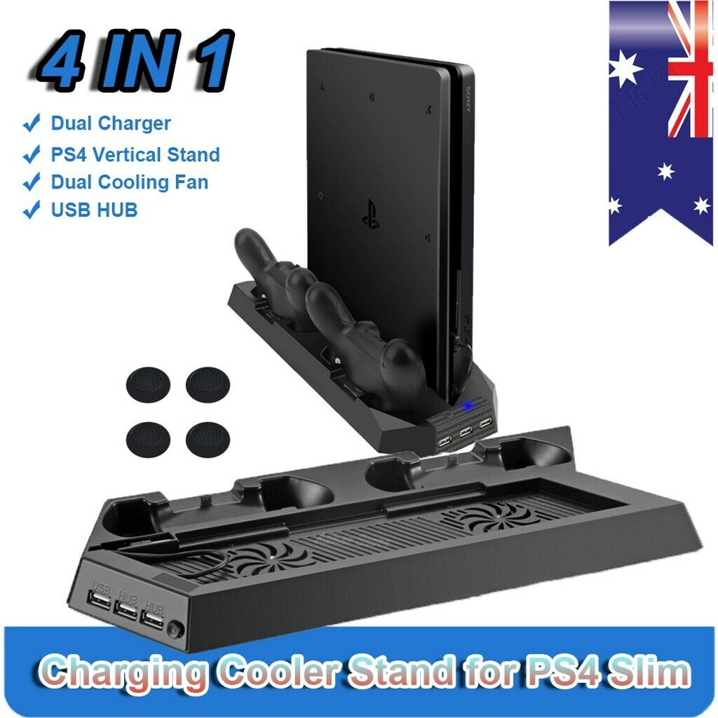 PS4 Stand with Cooling Fan PS4 Charging Dock 3 Port USB Hub for PS4 / PS4 Slim
