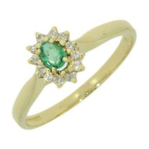 Ladies-Cluster-Ring-18ct-Yellow-Gold-Emerald-And-Diamond-Cluster-Ring-CH890