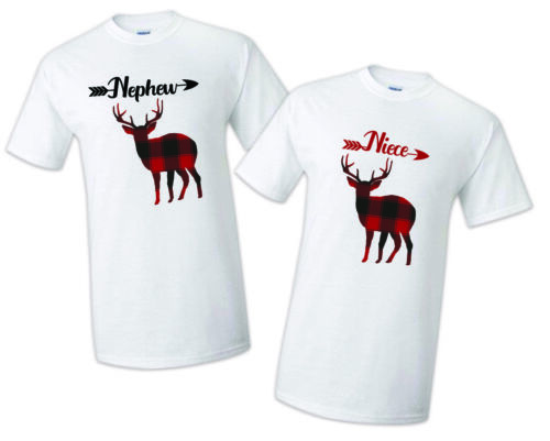 Buffalo Plaid Deer Rustic Christmas Birthday Matching T-shirts Party Family
