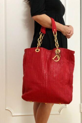 Genuine Christian Dior Woven Leather Shopper Handb
