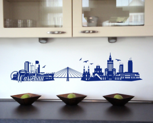 Samunshi Warschau Skyline Wandtattoo   25 Farben 8 Größen