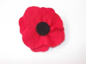 Remembrance day poppy flower brooch handmade red felt fabric ebay image is loading remembrance day poppy flower brooch handmade red felt mightylinksfo