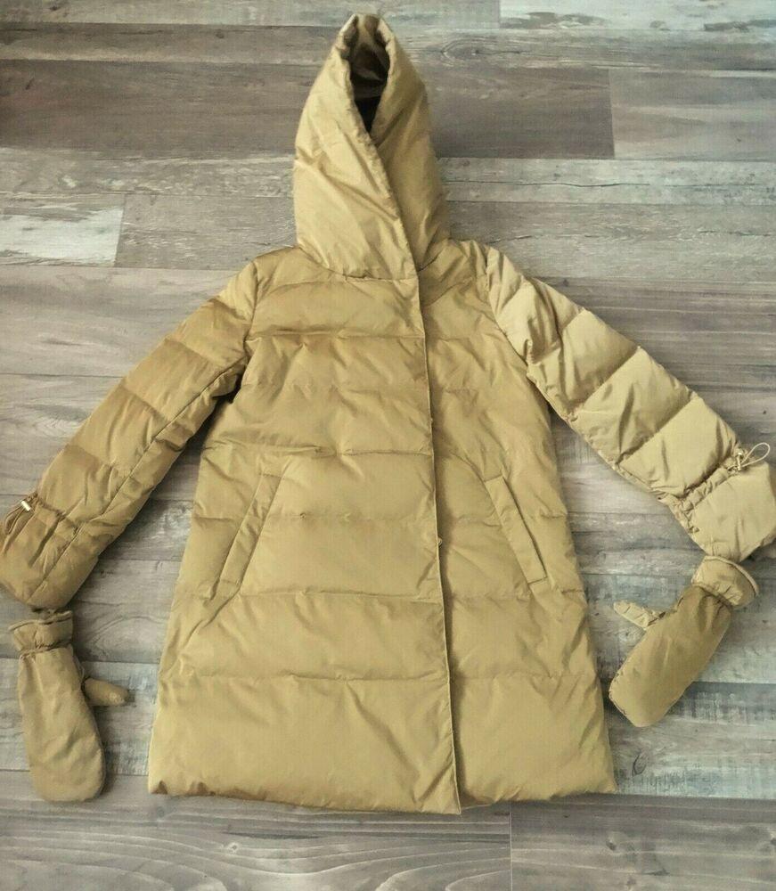 Zara Or/camel Feather Down Gilet Manteau Avec Enveloppante Col Taille Xs