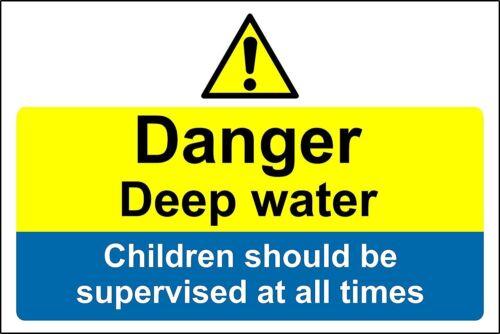 Pericolo Acqua Profonda I bambini dovrebbero essere controllate in qualsiasi momento sign