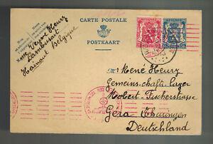 1943 Belgien Postkarte Abdeckung zu Gera Deutschland Gemeinschaftslager Rene