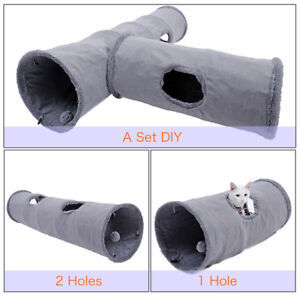Cat-Tunnel-Suede-Large-2-Holes-Pet-Cat-Play-Tunnels-Rabbit-Toys-With-Ball-Grey