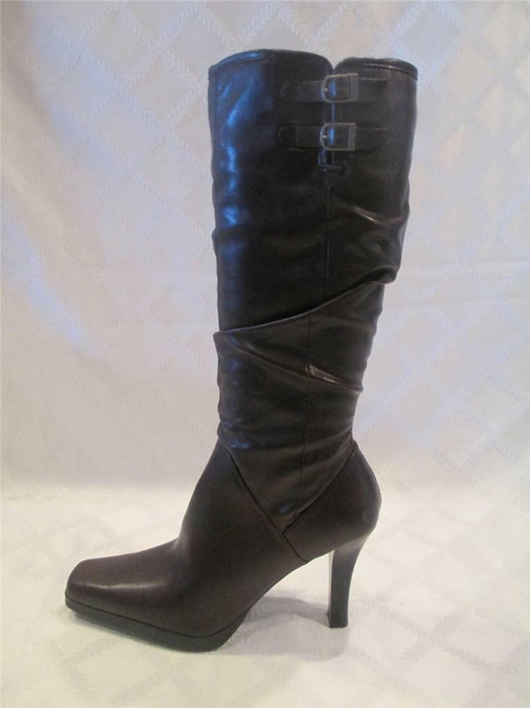 NWOB WOMENS APOSTROPHE ANABELLE DARK BROWN STRETCH KNEE HIGH BOOTS SIZE 9.5