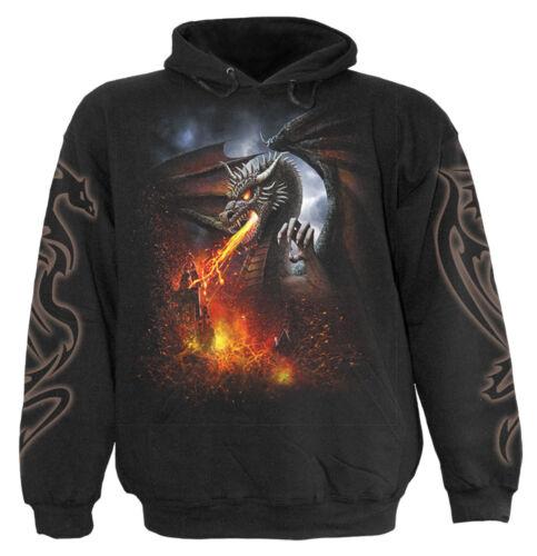 Spiral Direct DRAGON LAVA Hooded,Funny//Biker//Dragon//Skull//Metal//Rock//Fire//Hoody