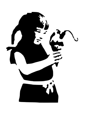 BANKSY DYNAMITE ICE CREAM GIRL STENCIL REUSABLE FROM A4 180 mc