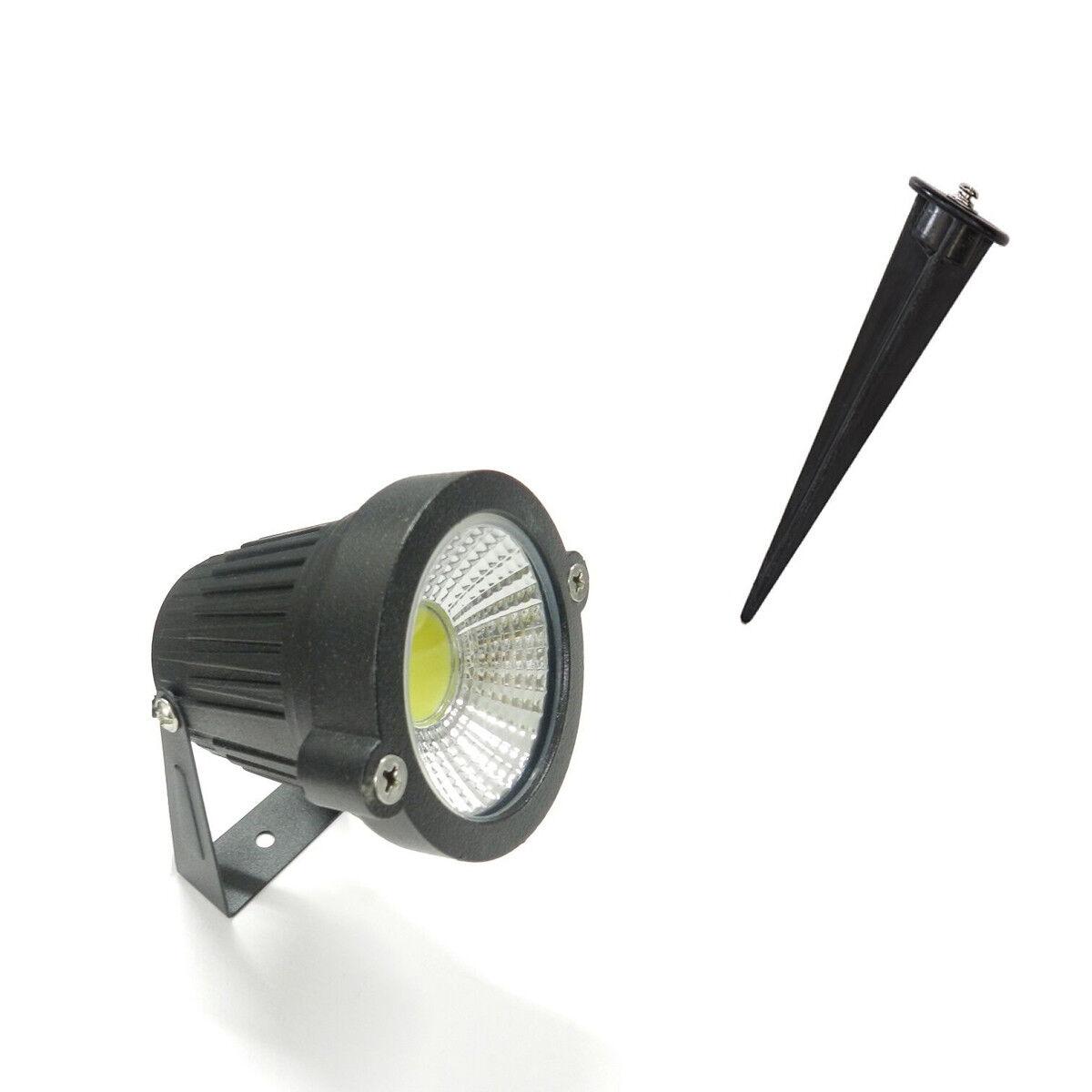 Projecteur Phare Cob LED pour Jardin 5W Watt Support Piquet Lumière Chaude IP 65