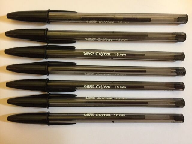 Lot of 7 BLACK Bic Cristal Ballpoint Pens 1.6mm, Xtra-Bold