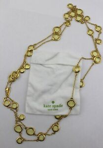 KATE-SPADE-Gold-Tone-Citrine-Yellow-Dangling-Station-Strand-Long-Necklace-Signed