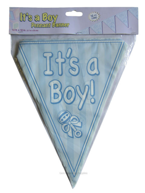 Baby Shower Pennant Bunting Banner Decoration, pink girl blue boy