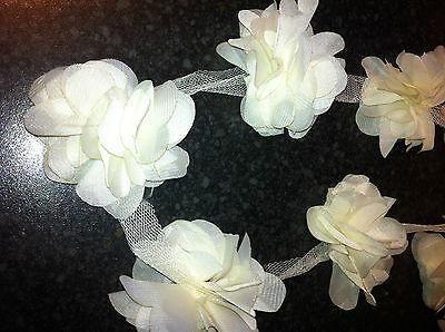 Flower Petals Chiffon Leaves Trim - Wedding Dress Bridal Lace Fabric -by yard