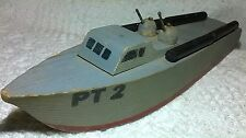"Vintage Rare 1940s Wooden Ralstoy PT 2 Gun Boat 8 3/4"""